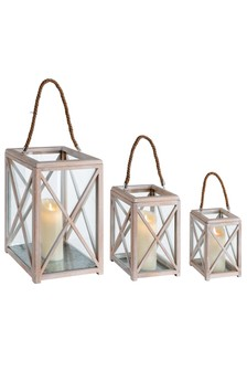 Set of 3 Distressed Lanterns by Outdoor Living Company
