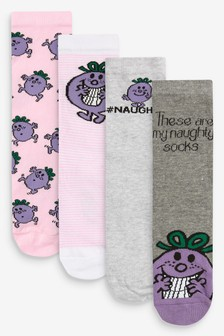 Little Miss Naughty 4 Pack Ankle Socks