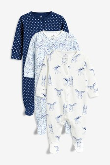 Rabbit/Floral Sleepsuits Three Pack (0mths-2yrs)