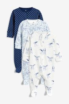 Три пижамы с кроликами/цветочным рисунком (0 мес. - 2 лет)