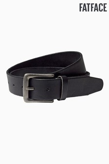 FatFace Black Italian Leather Stitch Belt