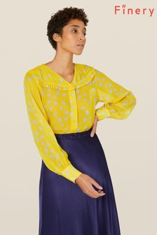 Finery London Yellow Hayley Floral Shirt