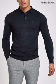 River Island Navy Cable Polo Knit