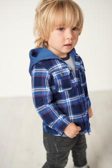 Check Jersey Lined Hooded Shacket (3mths-7yrs)