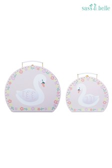 Set of 2 Sass & Belle Freya Swan Suitcases