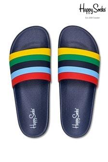 Happy Socks Blue Stripe Sliders
