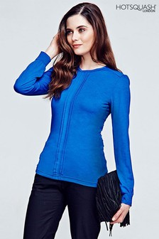 HotSquash Cobalt Pleat Front Blouse
