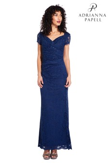 Adrianna Papell Blue Stretch Lace Long Dress
