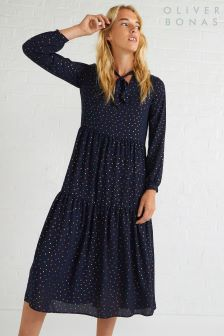 Oliver Bonas Multi Luster Foil Spot Midi Dress