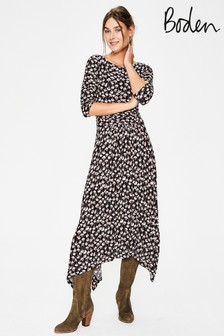 Boden Black Maisie Jersey Midi Dress