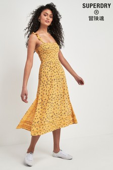 Superdry Yellow Rae Midi Dress