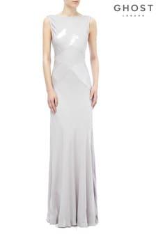 فستان ماكسي ستان فضي Taylor Lake من Ghost London