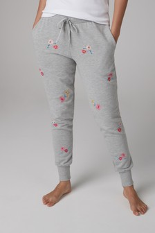 Floral Embroidered Joggers