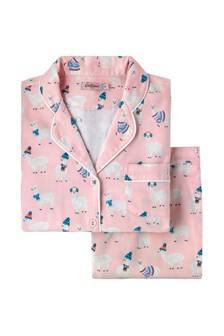 Cath Kidston® Pink Alpacas Brushed Flannel Pyjama Set