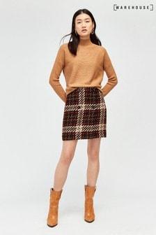 Warehouse Black Check Pelmet Mini Skirt