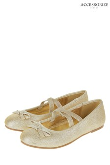 Angels by Accessorize Gold Tie Bow Ballerina