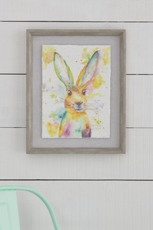 Bright Watercolour Rabbit Framed Print
