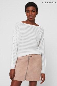 AllSaints White Tonal Stripe Elle Jumper