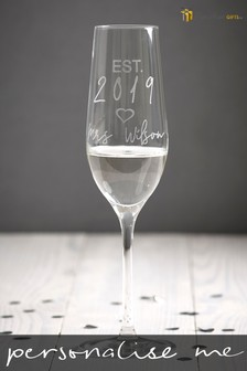 Personalised Est. In 2019 Mrs Champagne Flute by Signature Gifts