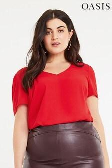 Oasis Red Curve V-Neck T-Shirt