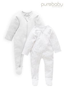 Purebaby Grey Organic Cotton Zip Sleepsuits 2 Pack