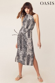 b2e20da74ab9 Sivé midi šaty Oasis okolo krku s imitáciou hadej kože