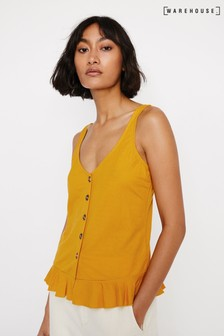 Warehouse Yellow Pique Button Through Cami Top