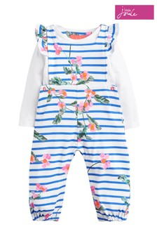 Joules White Eliza Jersey Dungaree Set