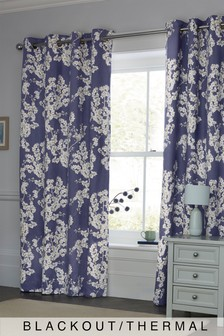 Blueberry Blossom Blackout Eyelet Curtains