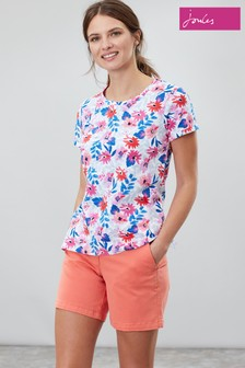 Joules Blue Nessa Print Lightweight Jersey T-Shirt