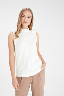High Neck Sleeveless Stitch Detail Top