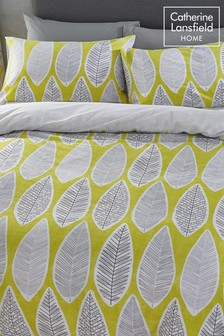 Catherine Lansfield Retro Leaves Easy Care Bed Set