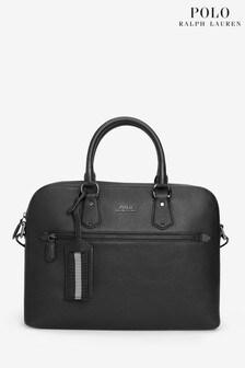 Czarna, elegancka torba skórzana na laptopa Ralph Lauren Polo®