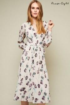 שמלה עם הדפס פרחוני של Phase Eight מדגם Emanuella בצבע שמנת