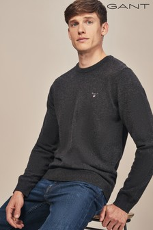 GANT Grey Super Fine Lambswool Crew Knit