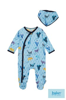 baker by Ted Baker All Over Print Safari Sleepsuit With Bib