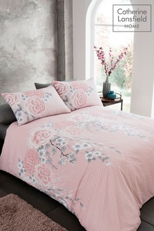 Catherine Lansfield Oriental Floral Duvet Cover and Pillowcase Set