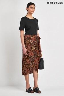 Whistles Brown Leopard Print Skirt
