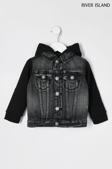 River Island Grey Hooded Denim Jacket