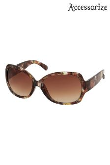 Accessorize Brown Winnie Patterned Wrap Sunglasses