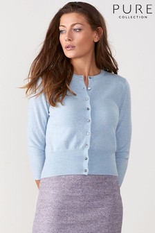 Pure Collection Blue Cashmere Cropped Cardigan