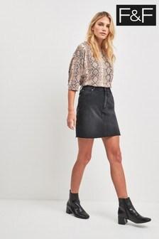 F&F Black Denim Skirt