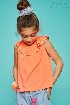 Outside The Lines Orange Frilled Cross Back Top