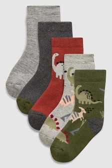 Dino Thermal Socks Five Pack (Younger)