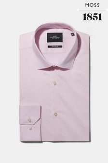 Moss London Extra Slim Fit Pink Single Cuff Stretch Shirt
