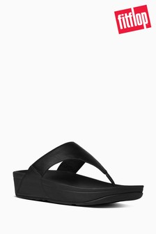 FitFlop™ Black Lulu Leather Toepost