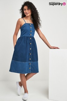 Superdry Midi-Denim-Kleid, Blau