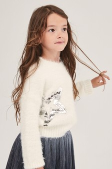 Sequin Star Fluffy Jumper (3-16yrs)