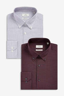 Regular Fit Check Shirts Two Pack