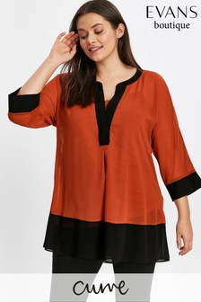 Evans Red Colourblock Shirt